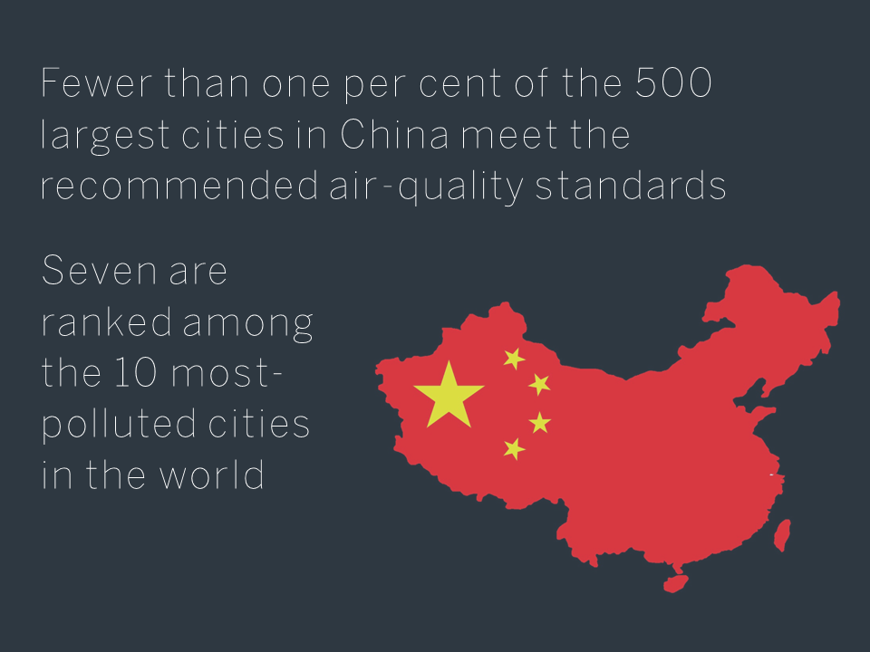 China City Pollution - Fewer than one per cent of the 500 largest cities in China meet the air-quality standards recommended by the World Health Organization. Seven are ranked among the 10 most-polluted cities in the world, according to a 2012 report by the Asian Development Bank.