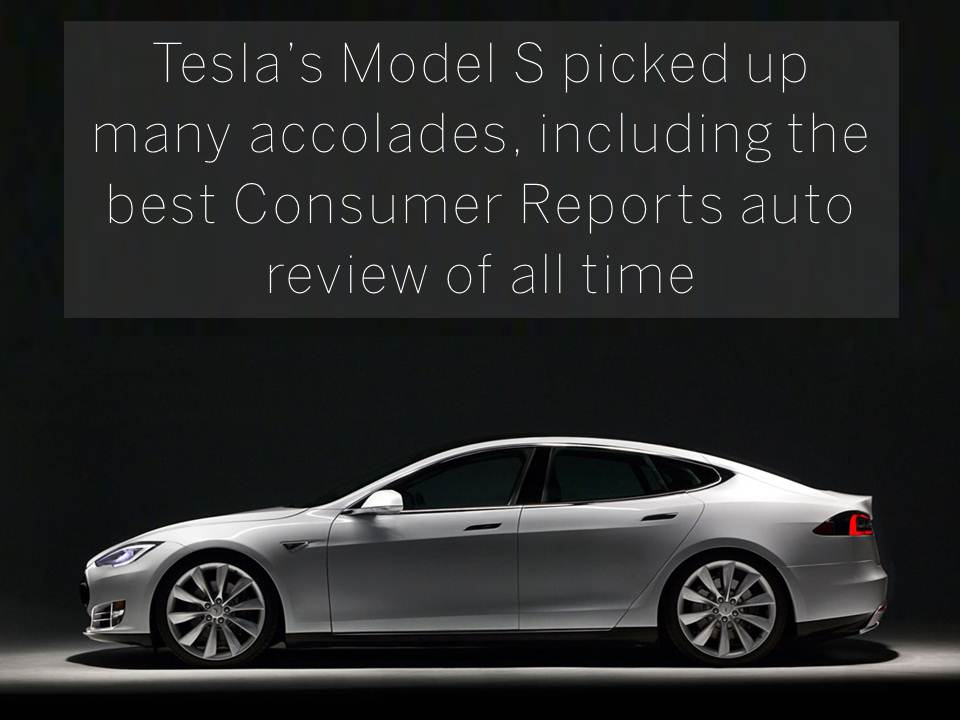 Tesla's Model S picked up many accolades, including the best Consumer Reports auto review of all time