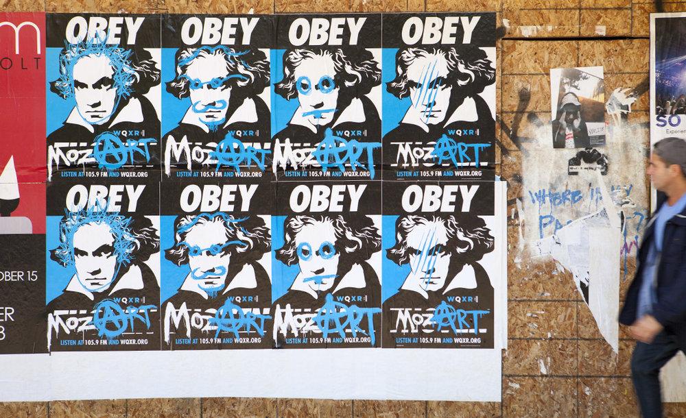 WQXR Obey Mozart wild posting