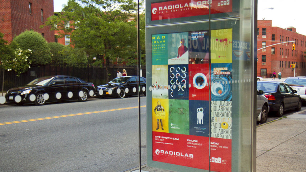 WNYC Radiolab posters bus shelter