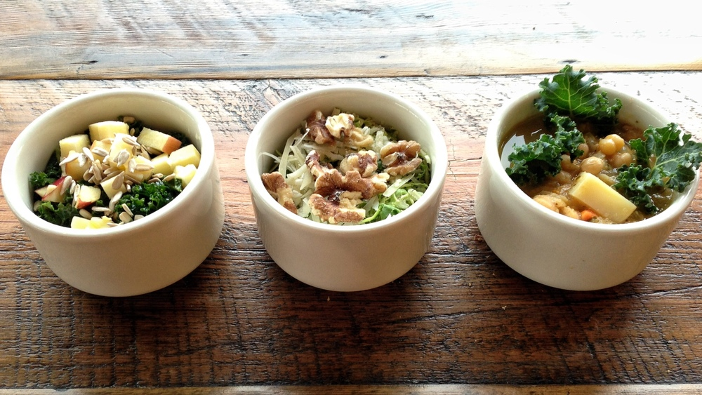 Kale Apple Salad, Brussels Sprouts Salad, Chickpea Kale Soup