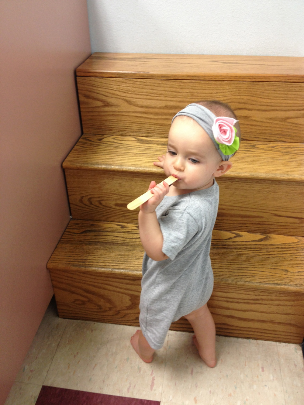 Climbing the stairs at the Dr's Office