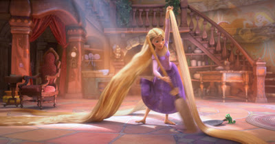 She cleans (want to come live with me, Rapunzel?)