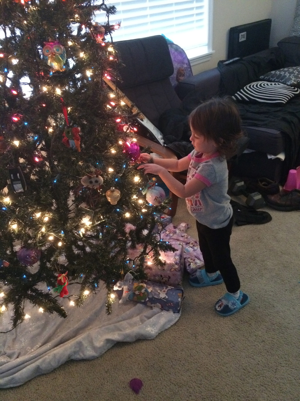 Only sturdy ornaments allowed within toddler reach!