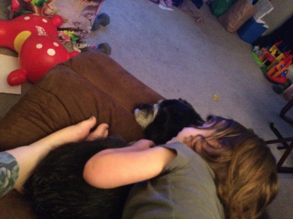 Even Fiona gets sick kid snuggles