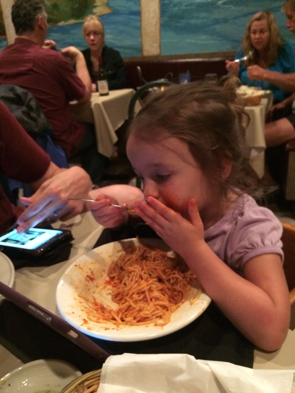 Double-fisting spaghetti