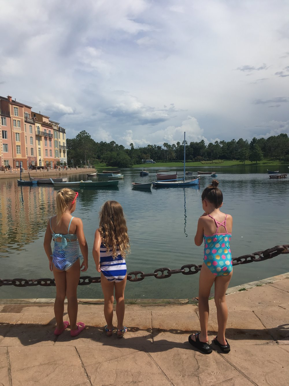 The Harbor at Portofino Bay- the girls' favorite activity was spotting turtles out there