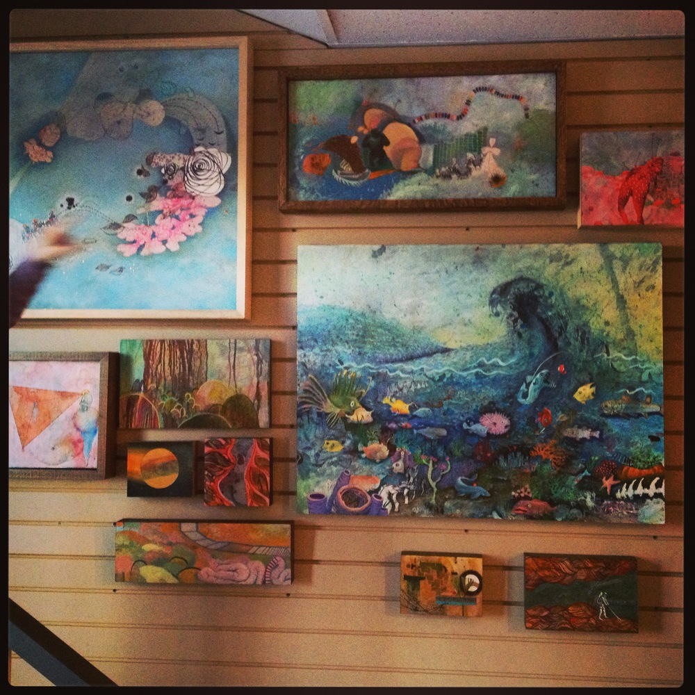 A view of my paintings on display at the Art Studio Place in Wexford, PA