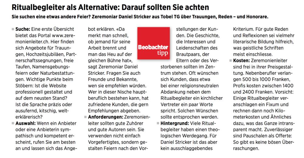 Expertenrat im Schweizer Konsumentenmagazin 'Beobachter`