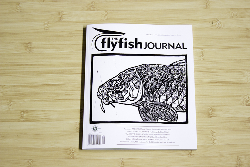 "The flyfish Journal 6.2  Cover featuring my piece ""Carpalicious"" and featuring a gallery of my work."