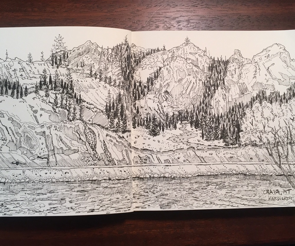 Micron pen sketch, Craig, MT
