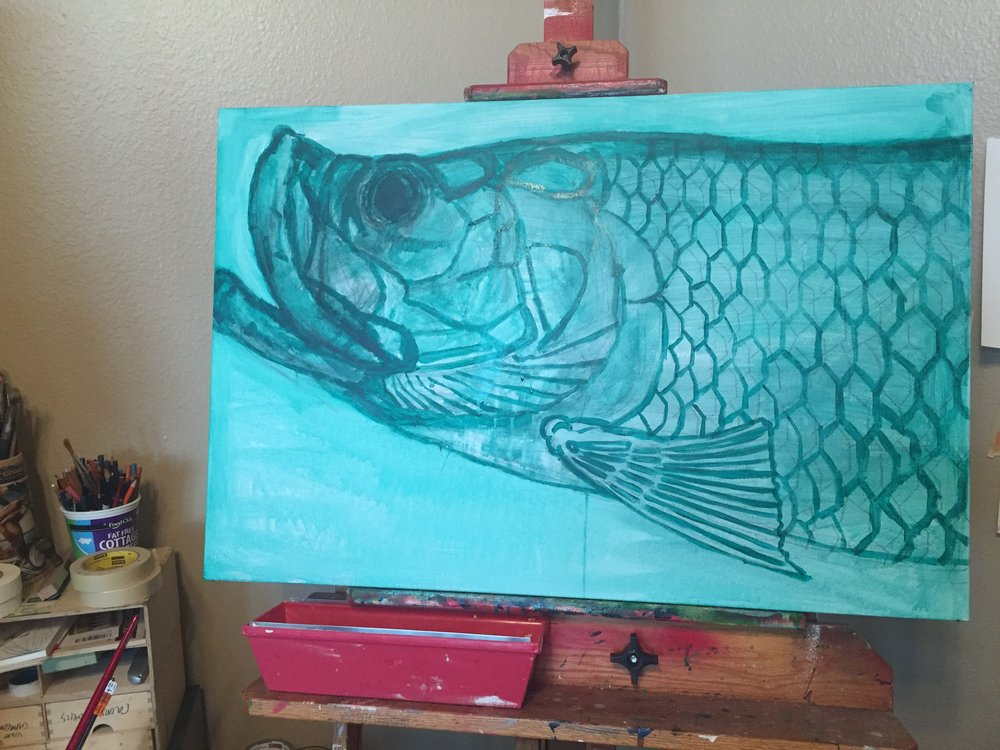 The underpainting.  The initial phase of gauging perspective and layout.  I ended up moving the fin and shortening the mouth to proper proportion.