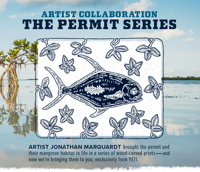 "My latest collaboration with YETI coolers featuring my piece ""Permit in Mangroves"" on a hat and t-shirt.  Click the image to be directed to YETI to purchase."