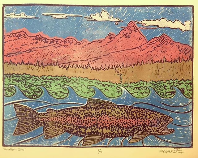 "Largest hand-pressed commission I have done. 18x24"". 5 color reduction. #trout #colorado #flyfishing #printmaking"