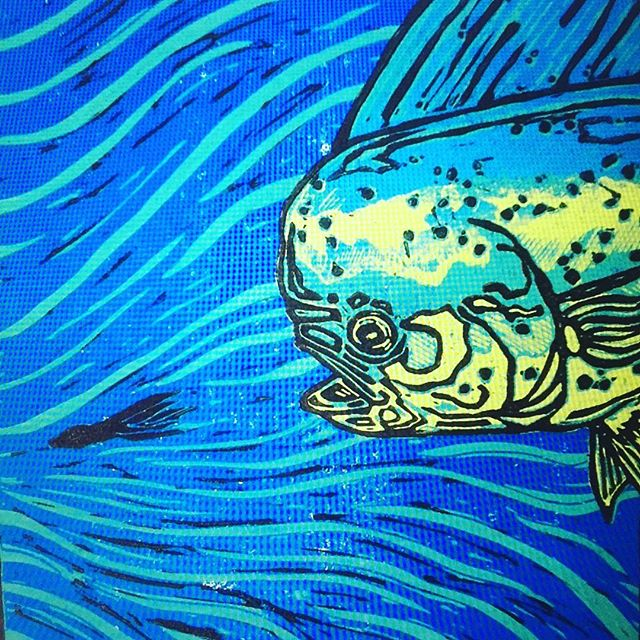 """Bull"" reduction linocut print. @southernfinapparel #mahimahi #floridakeys #flyfishing #art"