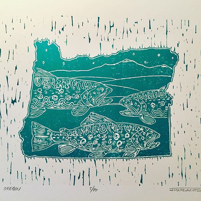 #oregon headed off to the Midwest. #flyfishing #trout #linocut