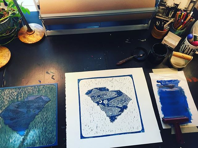 SC state in blue with brook trout. #southcarolina #flyfishing #linocut #printmaking