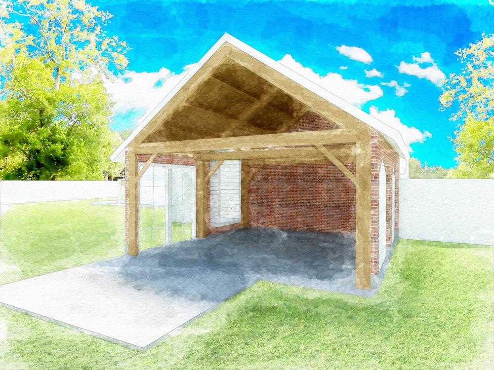 Afbeelding C, doorsnede ontwerp. Goed zichtbaar is de houten constructie