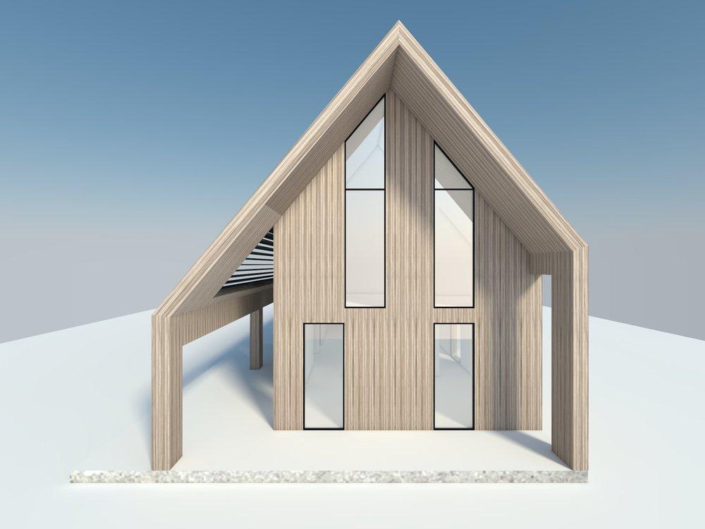De woning heeft een sterke en eenvoudige maar herkenbare vorm.