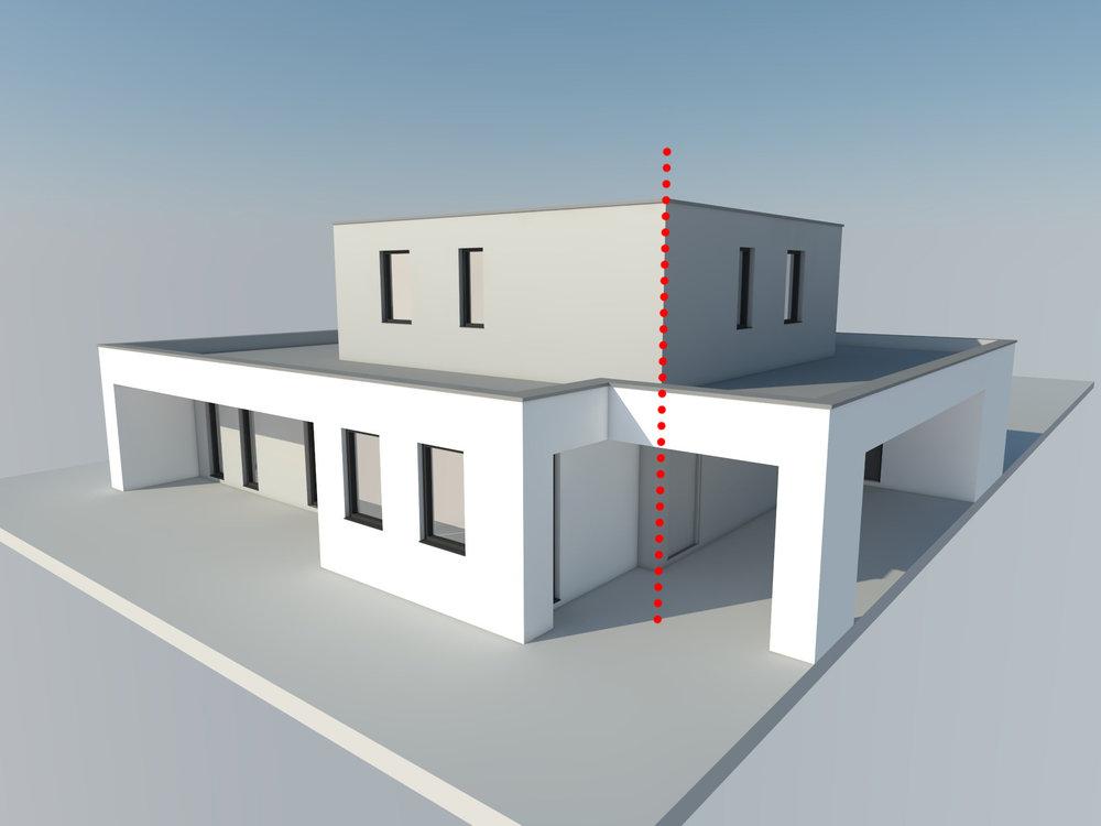 Onderscheid door materiaalgebruik, samenhang door verticale lijnen