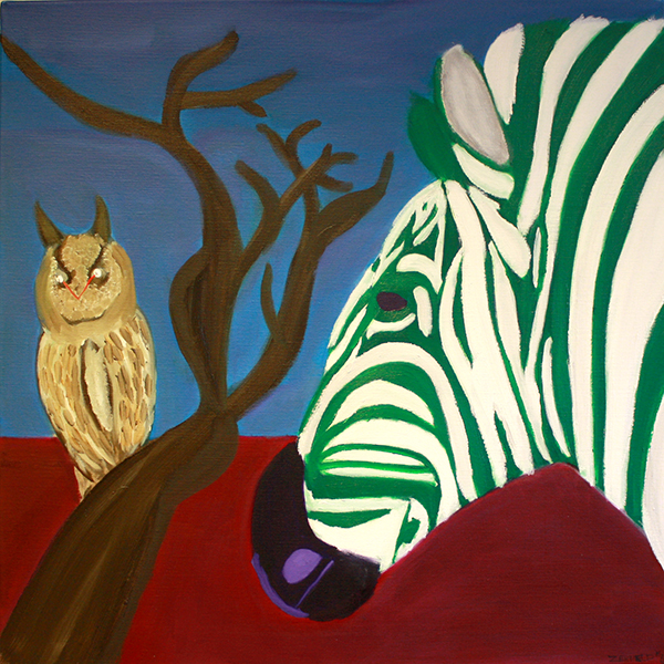 De Rotterdamse zebra vraagt raad aan de wijzer uil. 70 x 70