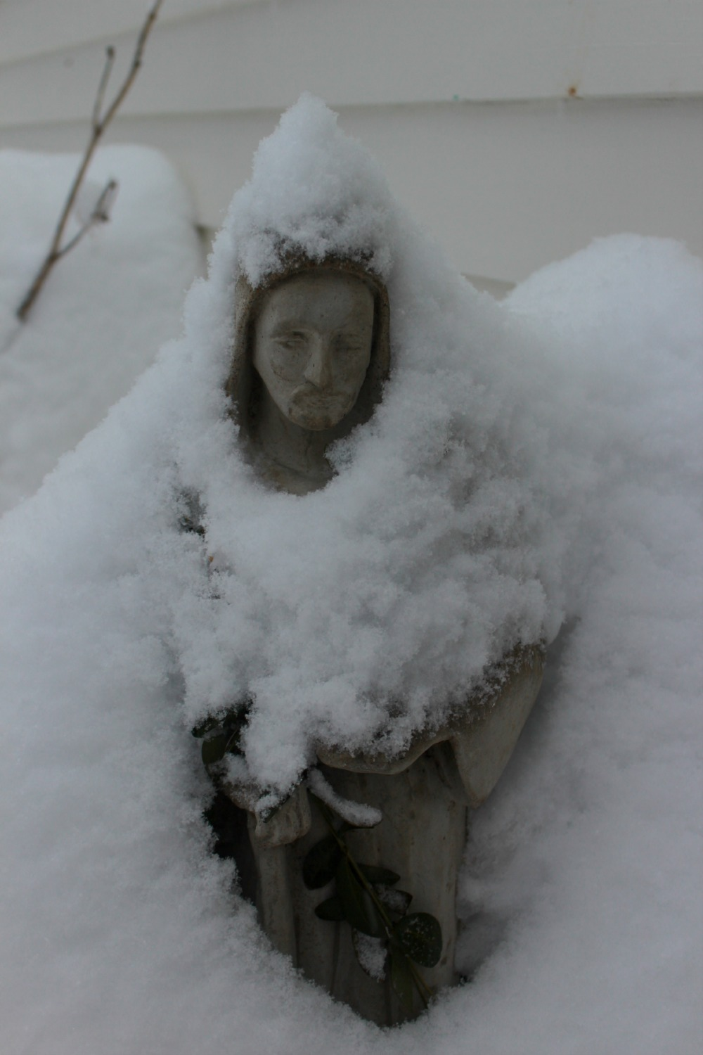Saint Francis, outside my door blanketed in snow, 2015 Linden Weiss