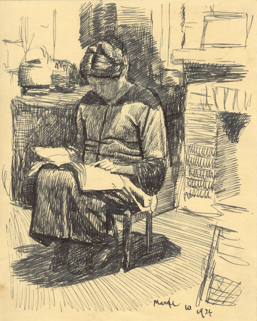 Gertrude Stein in her kitchen, pencil sketch by Carl Schmitt, 1926