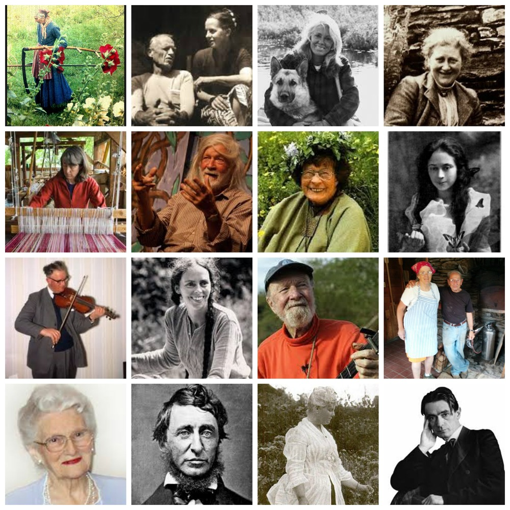 Honoring Mentors in my life: top L to R: Tasha Tudor, Helen & Scott Nearing, Anne LaBastille, Beatrix Potter, Kate Smith, Peter Schumann, Adelma Simmons, Opal Whitly, Tom Anderson, Ina May Gaskin, Pete Seeger, Helen & Jules Rabin, Eileen Cady, Henry David Thoreau, Celia Thaxter, Rudolf Steiner