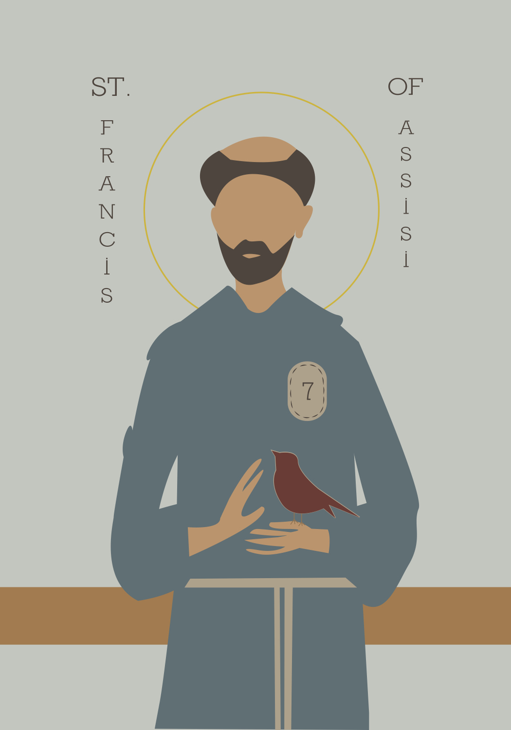 "This is a copy of an ""icon"" of St. Francis that I made for a friend's birthday present! (I'm considering illustrating more icons of saints and sharing their stories in a series here on the blog. Is this something anyone would be interested in? Comment below to let me know? :)"