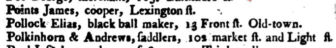 The Baltimore Directory, for 1799...   John Mullin. Baltimore: Warner & Hanna, 1799. p. 54