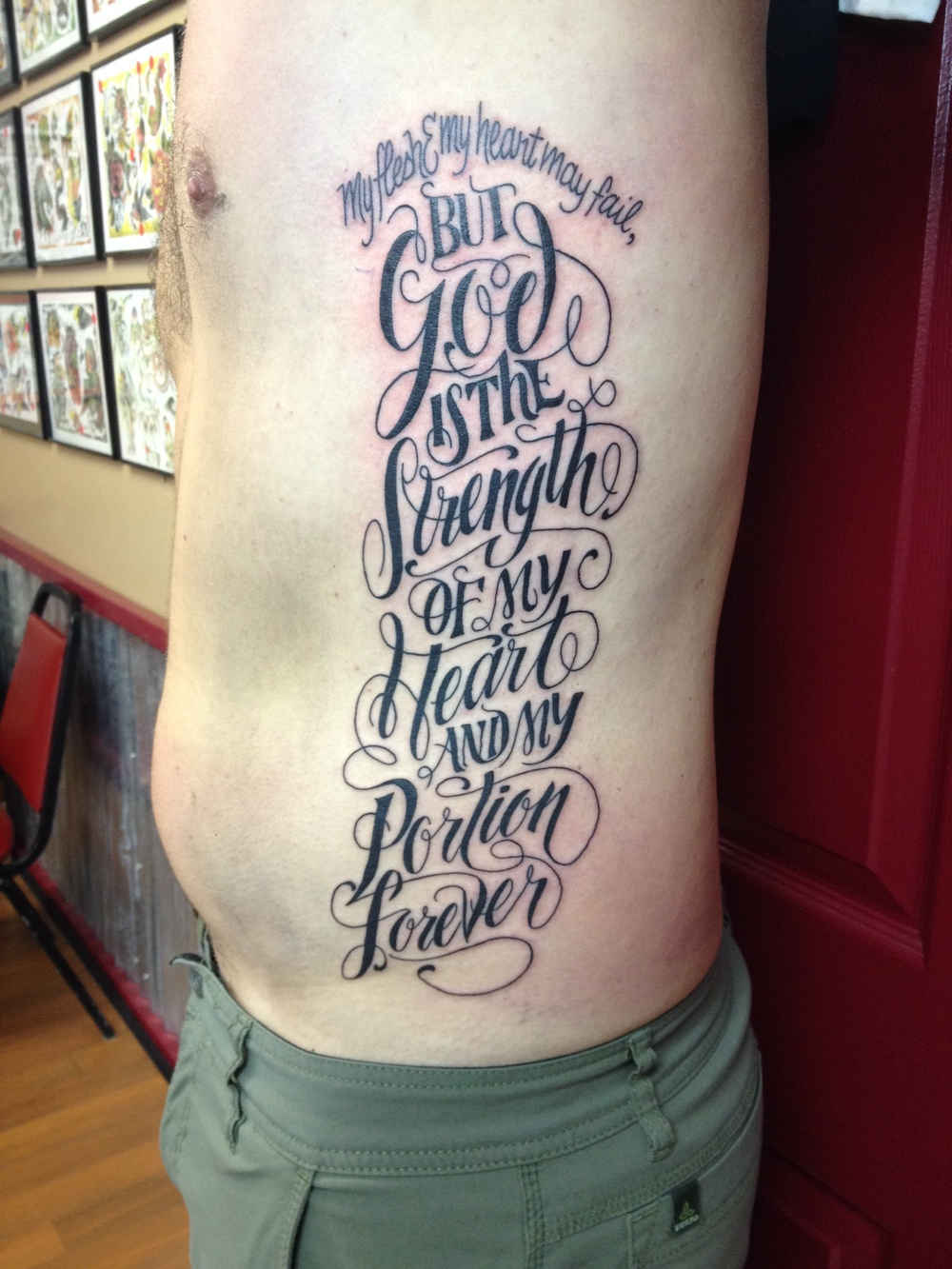 Joe's awesome tattoo of Psalm 73:26