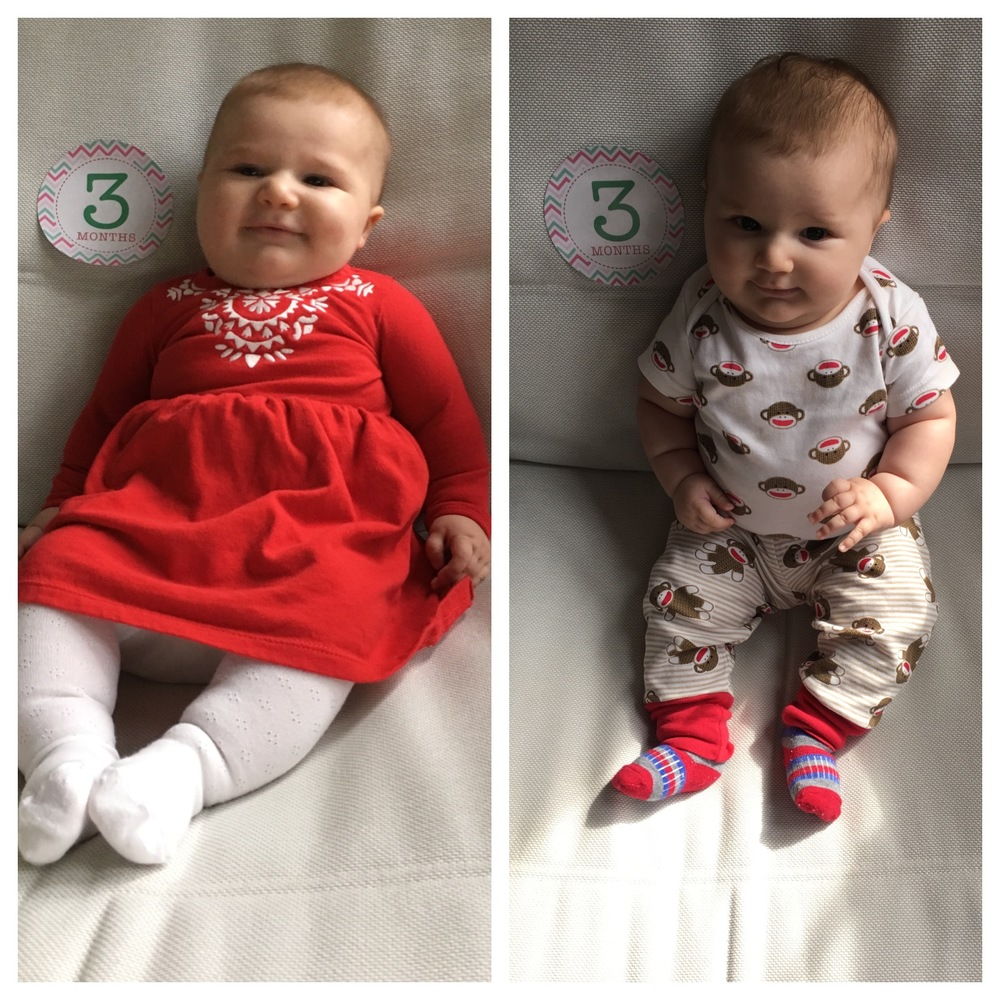 At three months, Austin weighs 17 pounds, 5 ounces, and is 24 inches long!