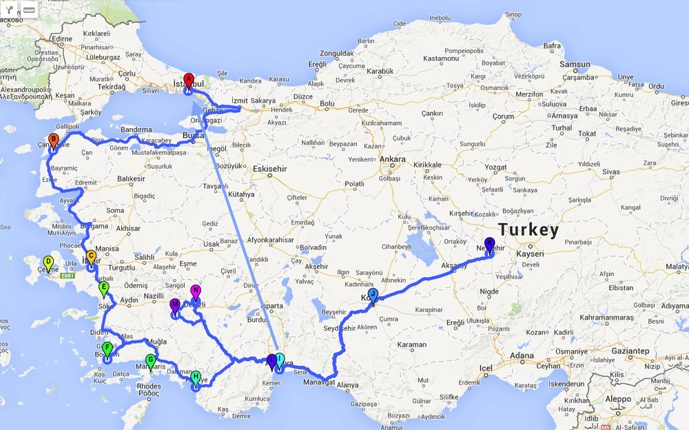 Some places that we've been in Turkey. Click to enlarge the map.