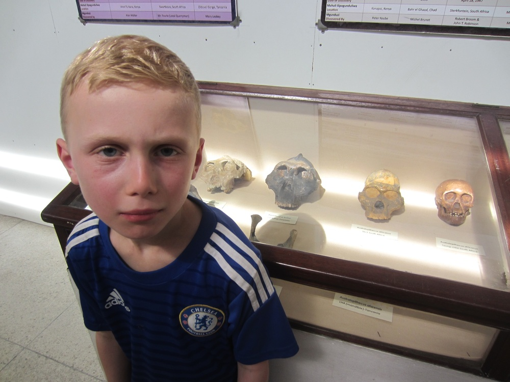 Isaac bears a striking resemblance to his long lost relatives at the National Museum in Dar es Salaam.