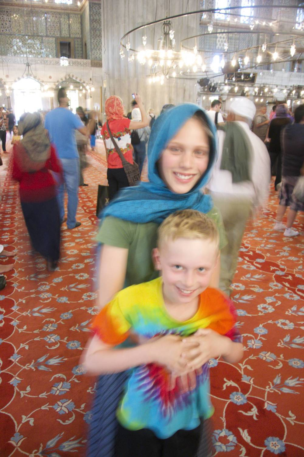 Zoe and Isaac at the Sultanahmet Mosque