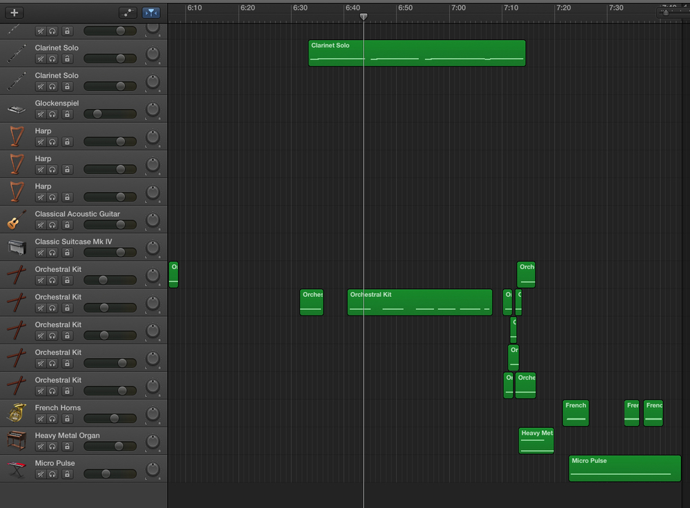 A screenshot of the finished theme - note how many other instruments I tried and rejected! - in Garageband. It even looks like science fiction...