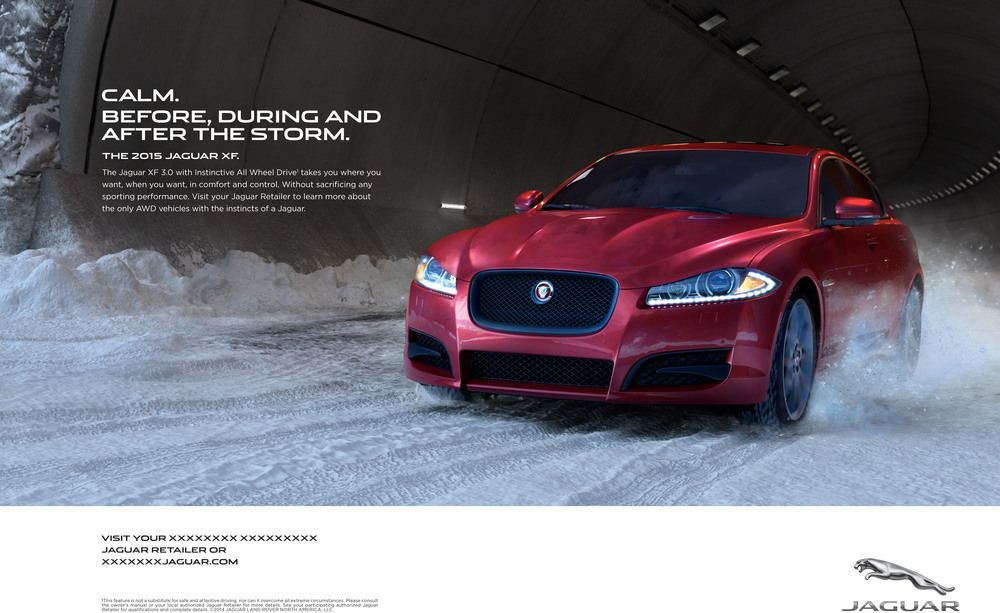 The body copy reads:  The Jaguar XF 3.0 with instinctive All Wheel Drive takes you where you want, when you want, in comfort and control. Without sacrificing any sporting performance. Visit your Jaguar retailer to learn more about the only AWD vehicles with the instincts of a Jaguar.