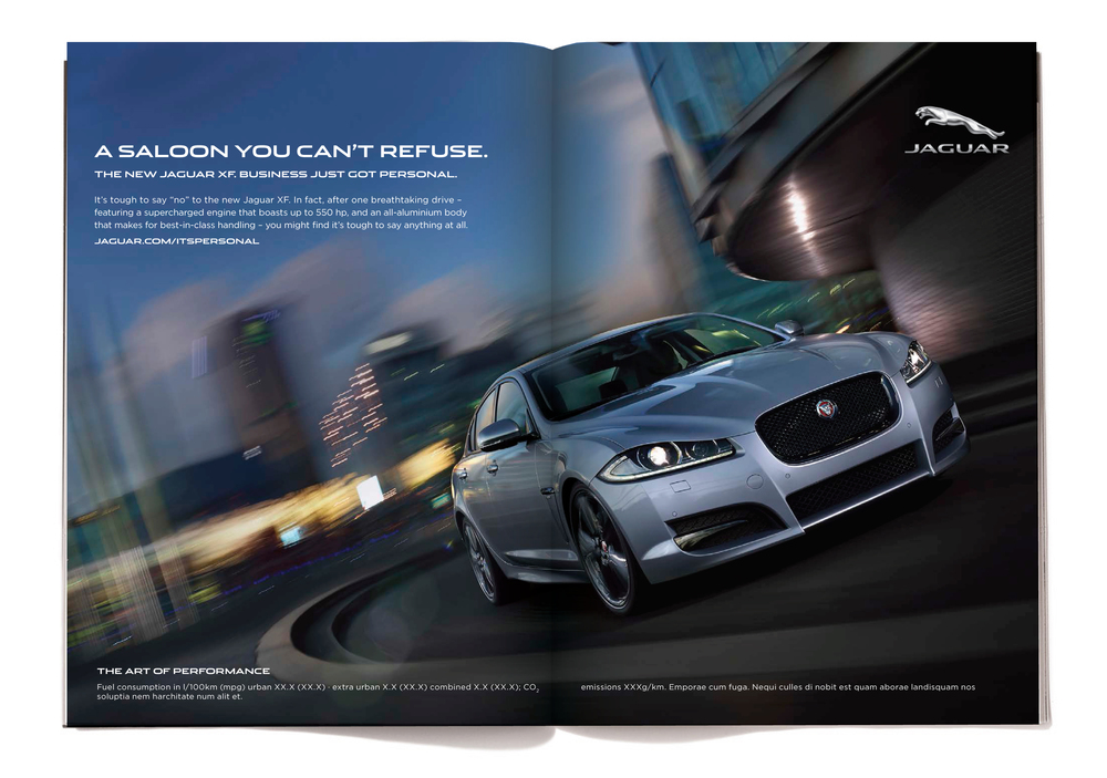 """Saloon"" is the British term for ""sedan.""  The body copy reads:  It's tough to say ""no"" to the new Jaguar XF. In fact, after one breathtaking drive - featuring a supercharged engine that boasts up to 550 hp, and an all-aluminum body that makes for best-in-class handling - you might find it's tough to say anything at all."