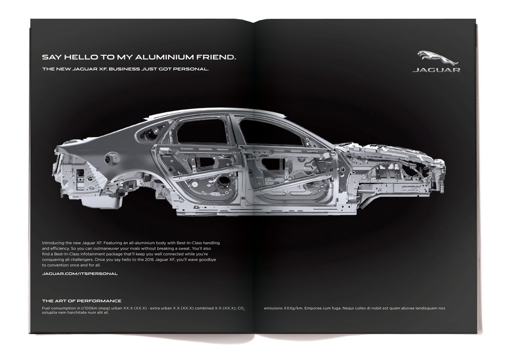"Yes, ""aluminium"" is the way they spell aluminum across the pond.  The body copy reads:  Introducing the new Jaguar XF. Featuring an all-aluminium body with Best-In-Class handling and efficiency. So you can outmaneuver your rivals without breaking a sweat. You'll also find a Best-In-Class infotainment package that'll keep you well connected while you're conquering all challengers. Once you say hello to the 2016 Jaguar XF, you'll wave goodbye to convention once and for all."