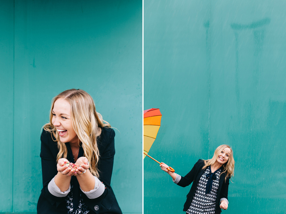 Playful portraits of Kelsey Kubels with confetti and a rainbow umbrella during a rainstorm in Milton