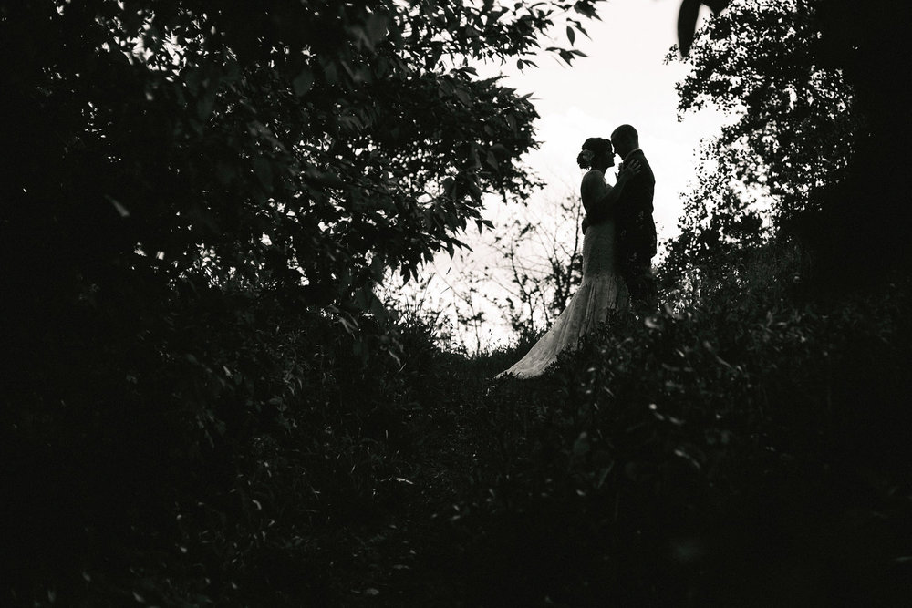 Bride and Groom silhouette on part of the Bruce Trail