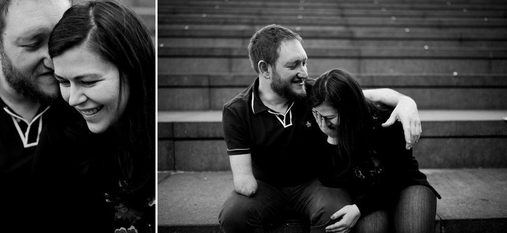 Couple laughs on the steps in London