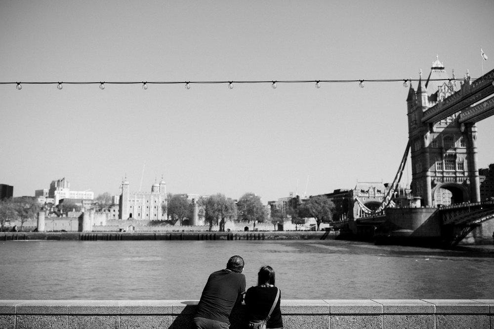 Couple looking over River Thames