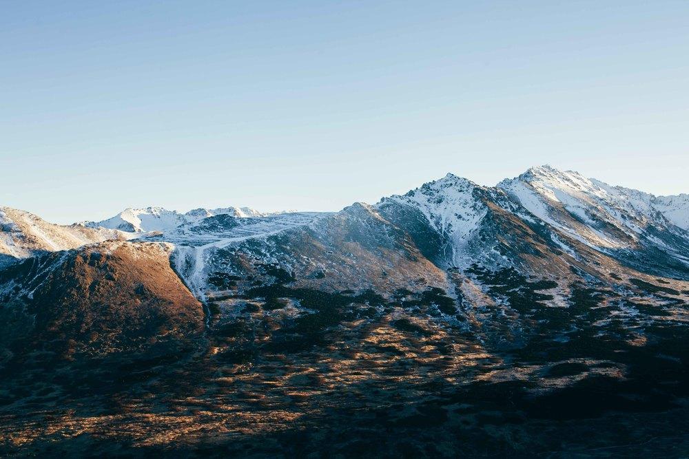 Alaska mountain sunrise.