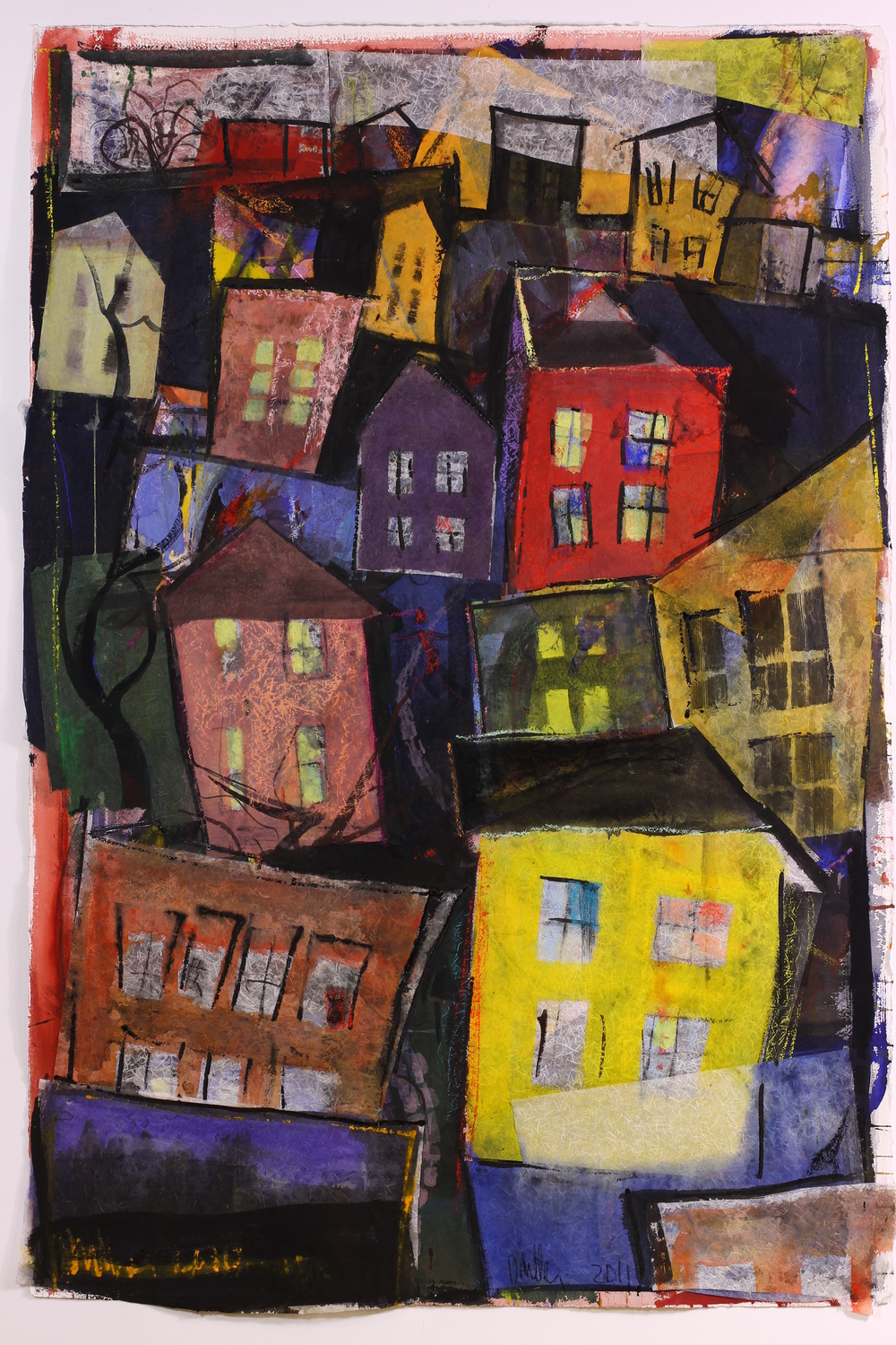 "Jumbled Town - 2011 - Mixed media - 60 x 40"" image size"