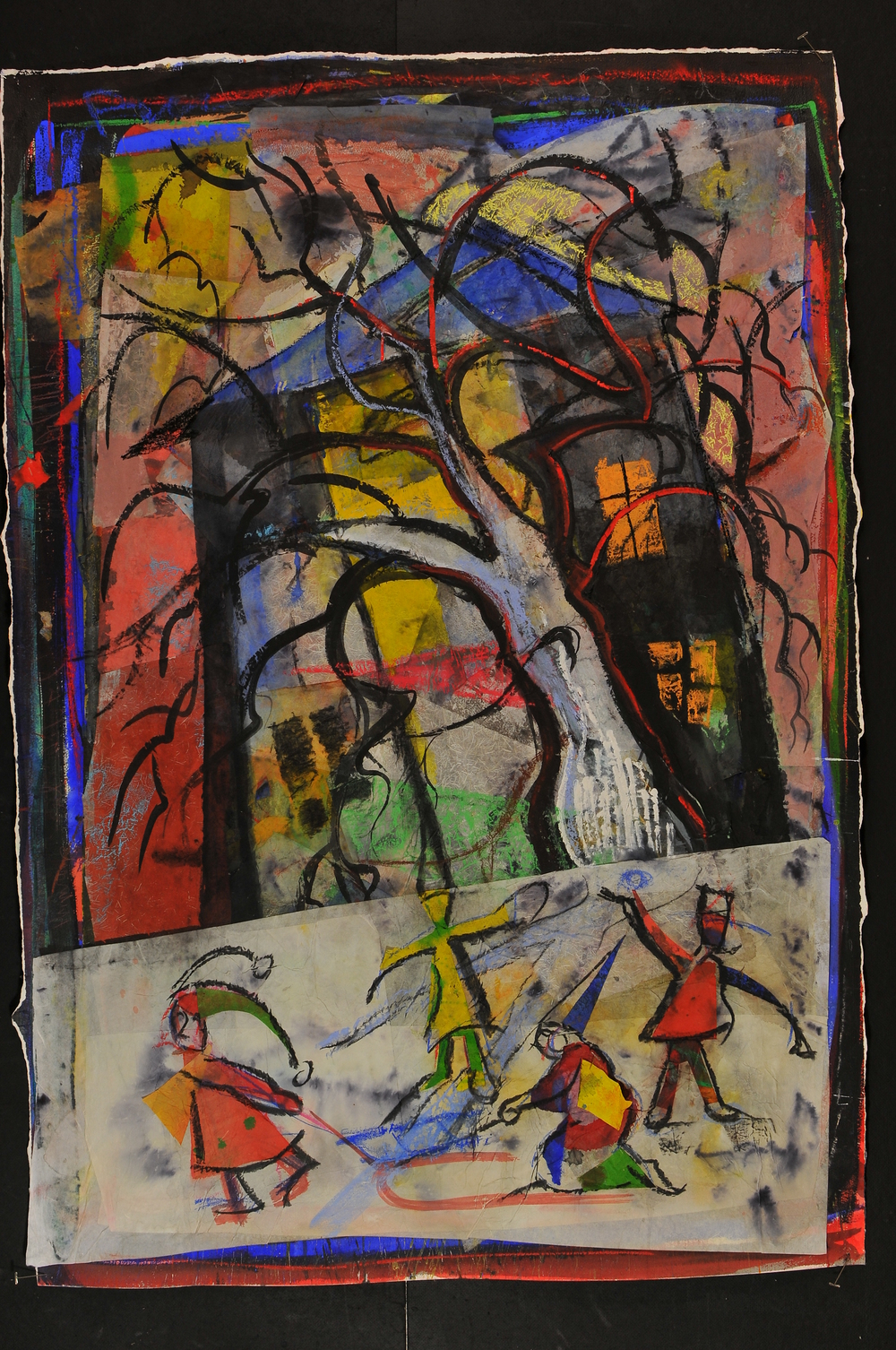 "Sledding by the Big Tree - 2009 - Mixed media - 53 x 36"" image size"