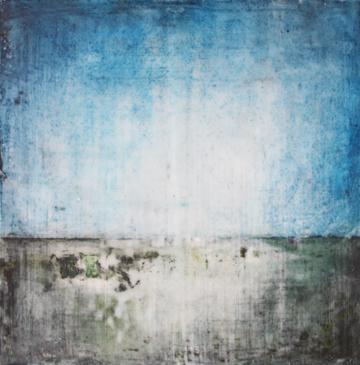 Landscape 1, encaustic on panel, 10 x 10 inches