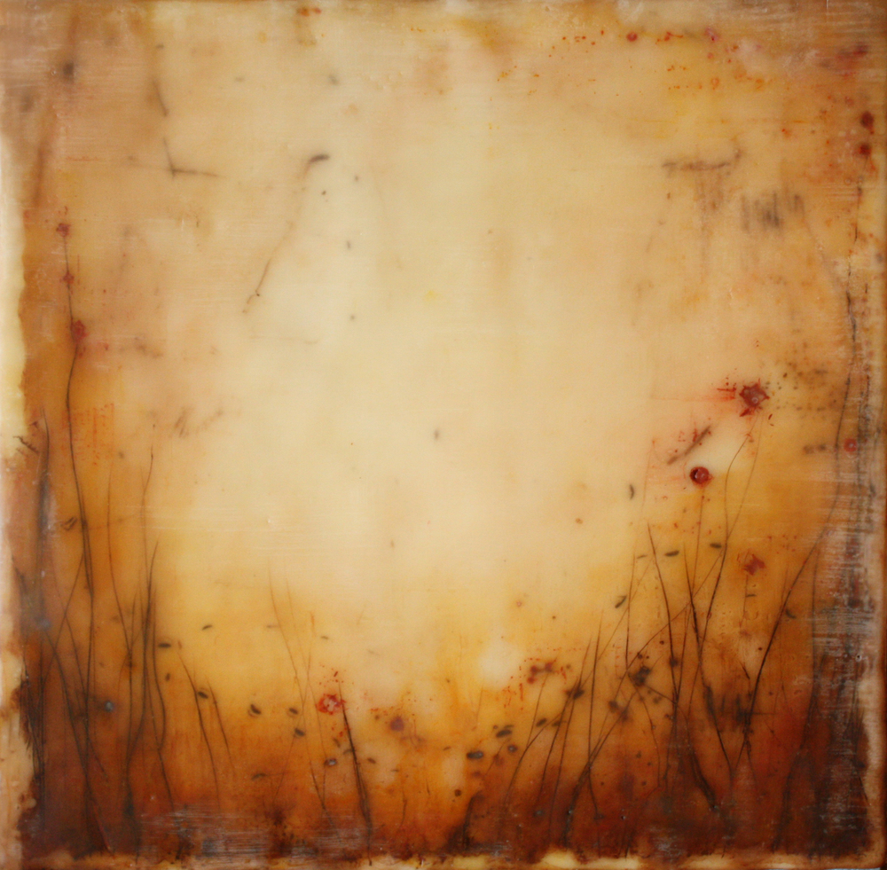 Golden Fields, encaustic and pigment stick on panel, 8x8