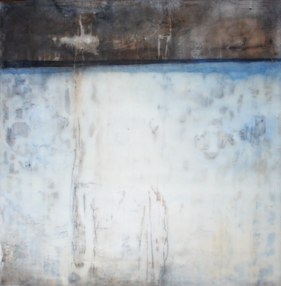 "Faded Wall,  encaustic and pigment stick on panel, 12"" x 12"""