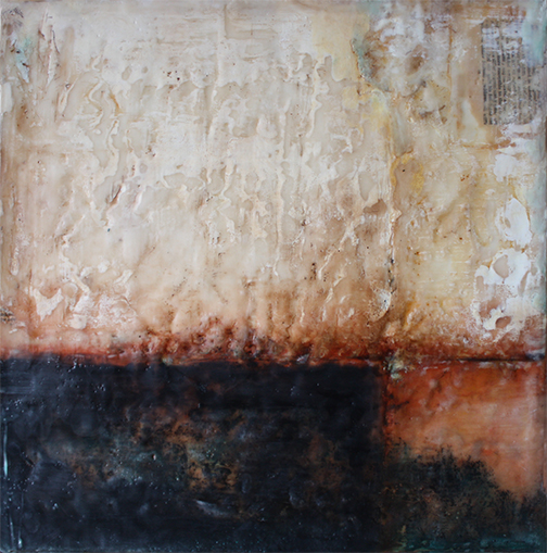 "Changed, encaustic mixed media, 18""x18"""
